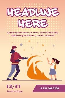Firefighter saving girl life flyer template