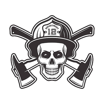 Firefighter skull in helmet and two crossed axes  illustration in monochrome   on white background