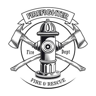 Firefighter stamp with hydrant vector illustration. crossed axes and fire dept text
