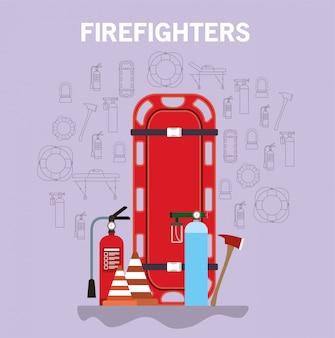 消防士ストレッチャー消火器酸素シリンダーコーンと斧のデザイン