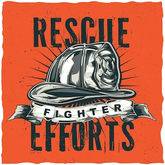 Firefighter t-shirt label design with illustration of helmet with crossed axes.