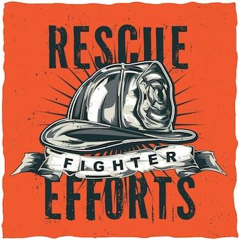 Disegno dell'etichetta della maglietta del pompiere con l'illustrazione del casco con gli assi incrociati.