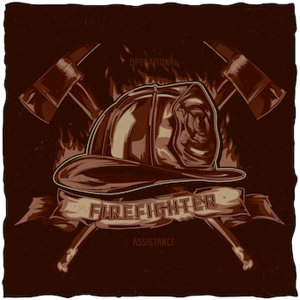 Дизайн этикетки футболку пожарного с иллюстрацией шлема со скрещенными топорами. рисованной иллюстрации.