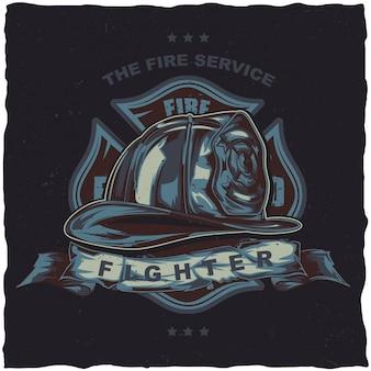 Дизайн этикетки футболку пожарного с иллюстрацией шлема со скрещенными топорами.