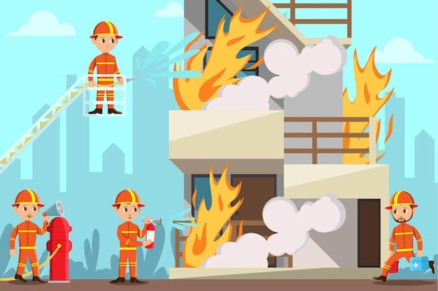燃えている家を救おうとしている消防士
