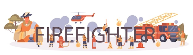 Firefighter typographic header
