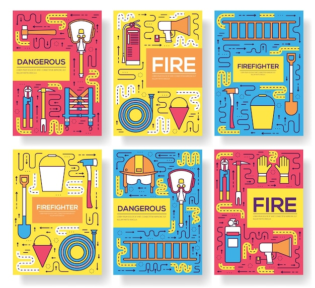 Firefighter uniform cards thin line set. first help template of flyear, magazines, posters.
