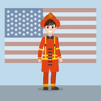 Firefighter over usa flag
