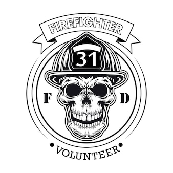 頭蓋骨のベクトル図と消防士のボランティアのエンブレム。番号とテキストのサンプルとヘルメットのキャラクターの頭
