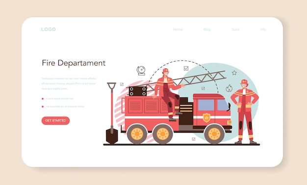 Firefighter web banner or landing page professional fire brigade