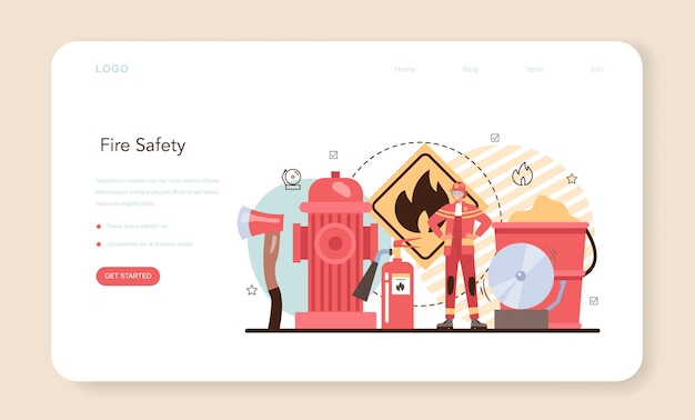 Firefighter web banner or landing page. professional fire brigade