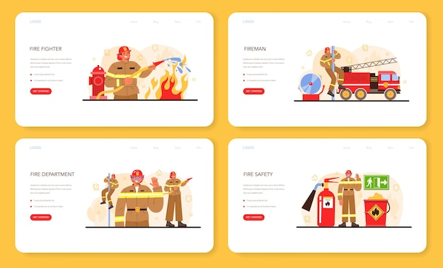 Firefighter web banner or landing page set. professional fire brigade