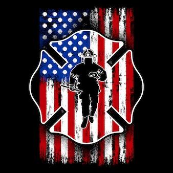 アメリカの国旗を持つ消防士、米国の消防士、シールド