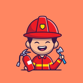 Firefighter with harchet axe and fire extinguisher cartoon   icon illustration. people profession icon concept isolated  . flat cartoon style
