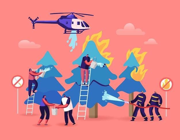 Пожарные и персонажи-добровольцы сражаются с огромным пожаром в лесу с горящими деревьями. мультфильм плоский иллюстрация