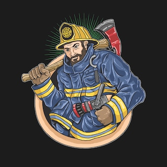 Firefighters eagerly to save lives ilustration