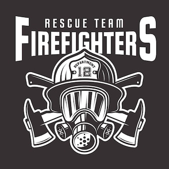 Firefighters  emblem, label or t-shirt print with fireman head in helmet and two crossed axes  on dark background