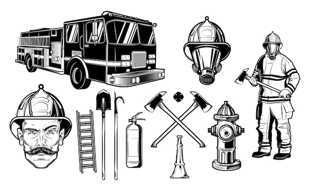 Firefighters and fire protection elements. the sketch style is isolated