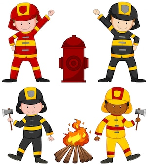 Firefighters and many equipments illustration
