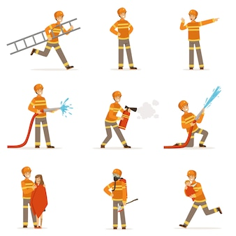 Firefighters in orange uniform doing their job set.