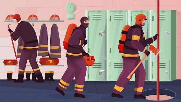 Composizione piatta nella stazione dei vigili del fuoco con vista interna dell'ufficio antincendio con l'illustrazione del palo e del foro degli armadietti
