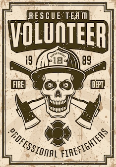 Firefighters vintage poster with skull and axes