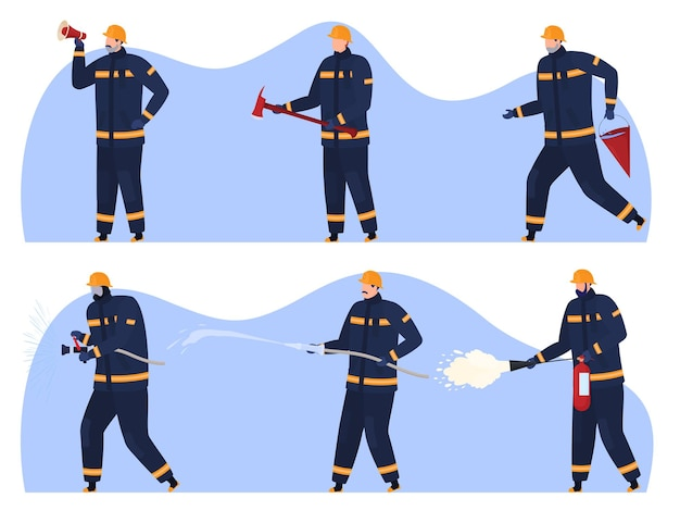 Пожарные с различными огнетушителями громкоговоритель топор пожарный гидрант