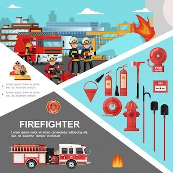 Modello colorato antincendio con i pompieri che estinguono le attrezzature e gli strumenti del vigile del fuoco e del fuoco nello stile piano