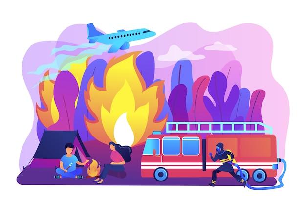 消防緊急サービス。ホースのキャラクターを持つ消防士。山火事、森林および草の火災の防止、大火の安全工学の概念。