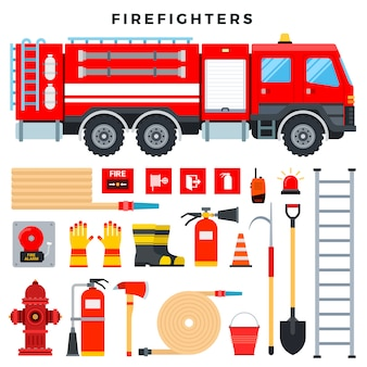 消防設備および装備品、セット。消防車、消火器、消火栓、ホース、はしご、ラジオ、消防用標識など