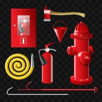 Противопожарное оборудование - набор реалистичных векторных изолированных объектов на прозрачном фоне. топоры, огнетушитель, крюки, шланг, ведро, гидрант. качественные картинки для наглядных пособий, презентаций