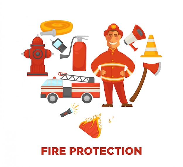 Firefighting and fire protection poster of extinguishing equipment tools.