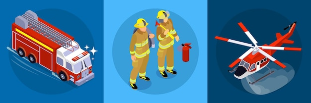Firefighting  horizontal  banner  consisting  of  three  square  parts  with  firefighters  firetruck  aircraft  isometric  icons    illustration