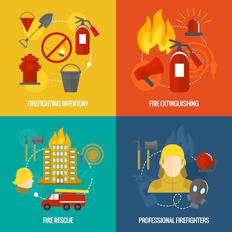 Firefighting icons composition