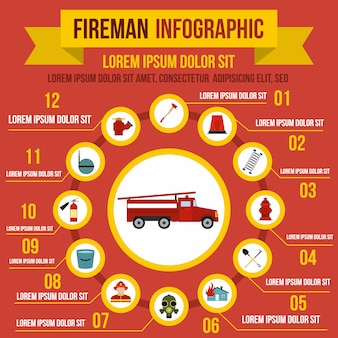 Firefighting infographic elements in flat style for any design