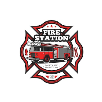 Firefighting symbol vector icon with fire truck and firefighter equipment. fire engine, hydrant, fireman ladder and hook isolated red badge of fire department, rescue and emergency service design