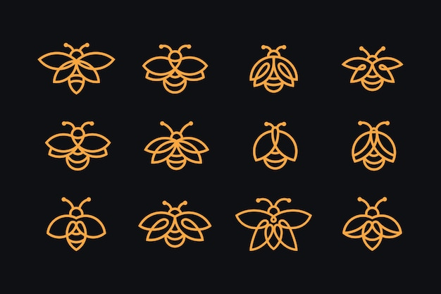 Firefly logo collection with line art style