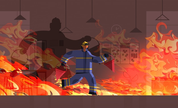 Fireman carrying red buckets firefighter in uniform firefighting emergency service extinguishing fire concept burning office building interior orange flame background full length horizontal