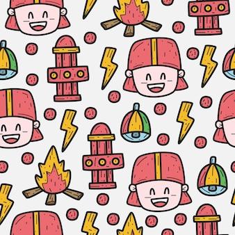 Fireman cartoon doodle pattern design