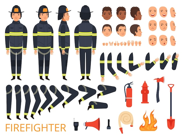 Fireman characters. firefighter body parts and special uniform with professional tools combat fire extinguisher shovel axe