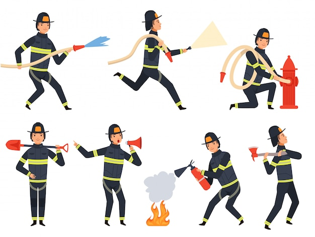 Fireman characters, rescue firefighter saving helping people water and fire mascots in action poses