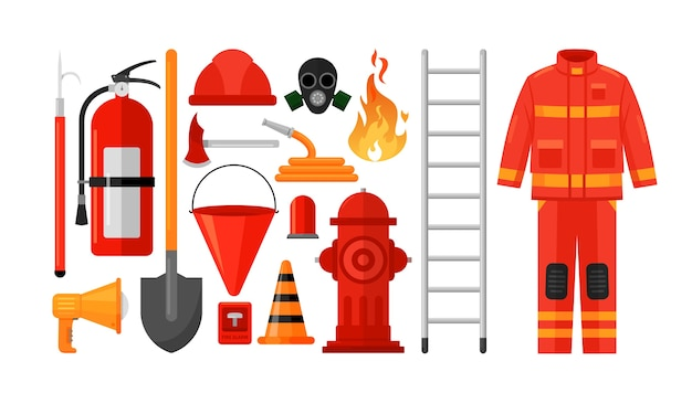 Набор иллюстраций оборудования пожарного униформа пожарного, защитный шлем и противогаз