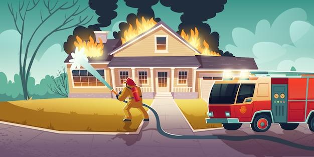 Пожарный тушит пожар в доме