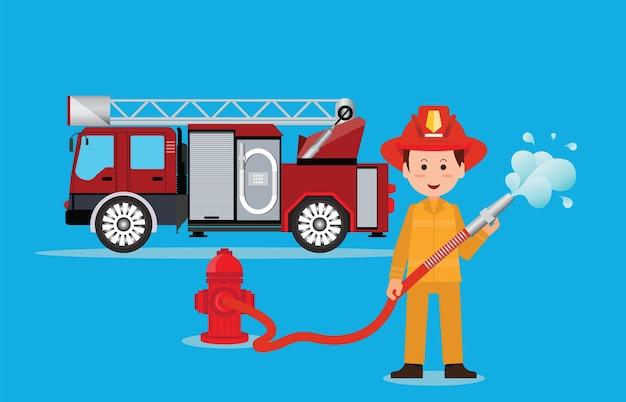 ウォーターホースで制服を着た消防士の消防士。