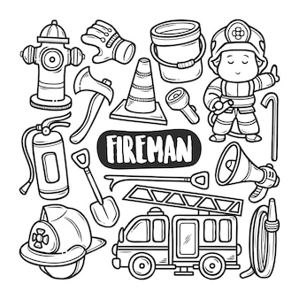 Fireman hand drawn doodle coloring