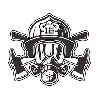 Fireman head in helmet, gas mask and two crossed axes  illustration in monochrome   on white background