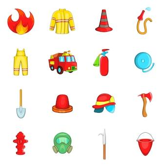 Fireman icons set, cartoon style