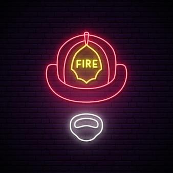 ヘルメットの輝くネオンサインの消防士