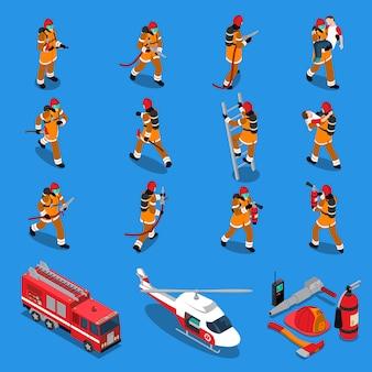 Пожарный изометрические набор Бесплатные векторы