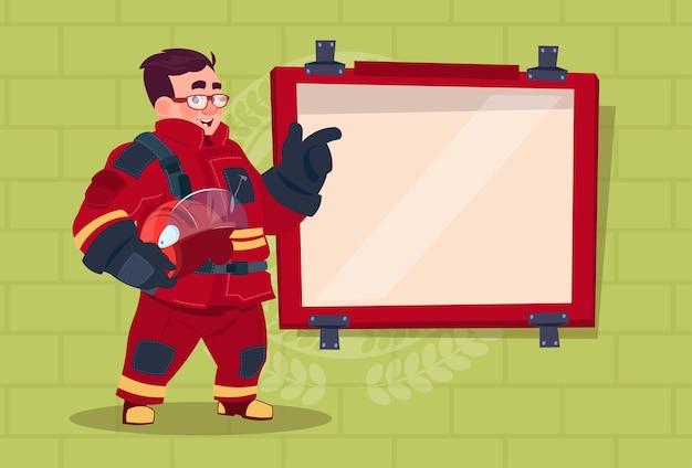 Fireman leading training of alarm